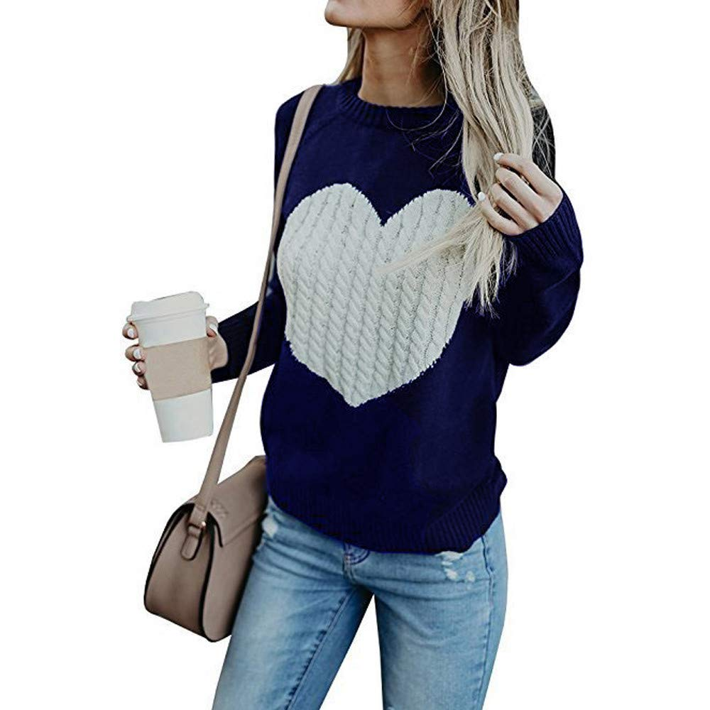 Spbamboo Womens Sweater Casual Knit Long Sleeve Love Pullover Loose Jumper Tops