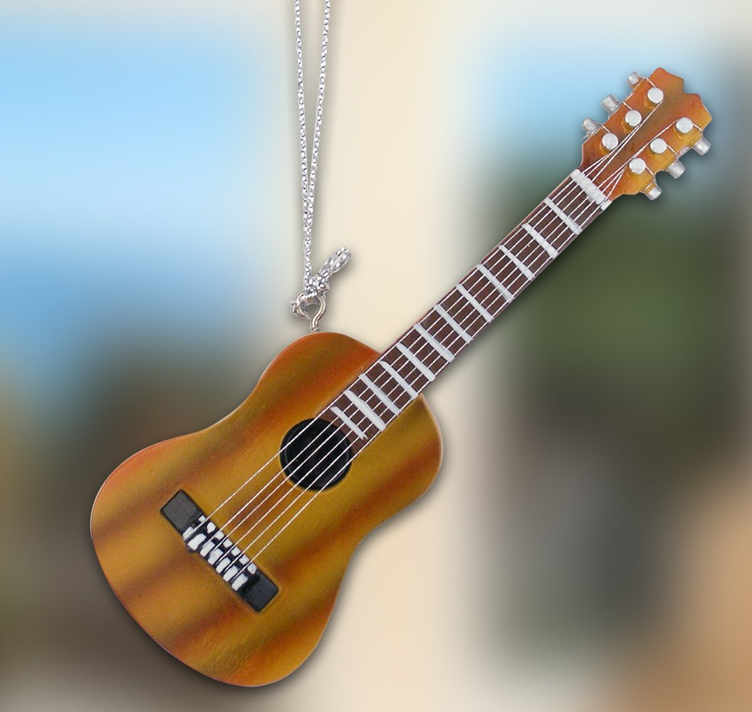 Banberry Designs Hanging Guitar Ornament Decoration - Brown Acoustic Guitar - Realistic Strings - Gifts for a Music Teacher - Music Students