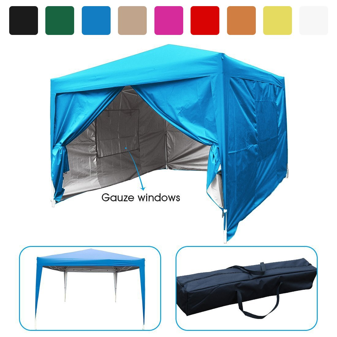 Quictent privacy 10x10 Mesh Curtain EZ Pop Up Party Tent Canopy Gazebo 100% Waterproof-7 Colors (Light Blue) by Quictent