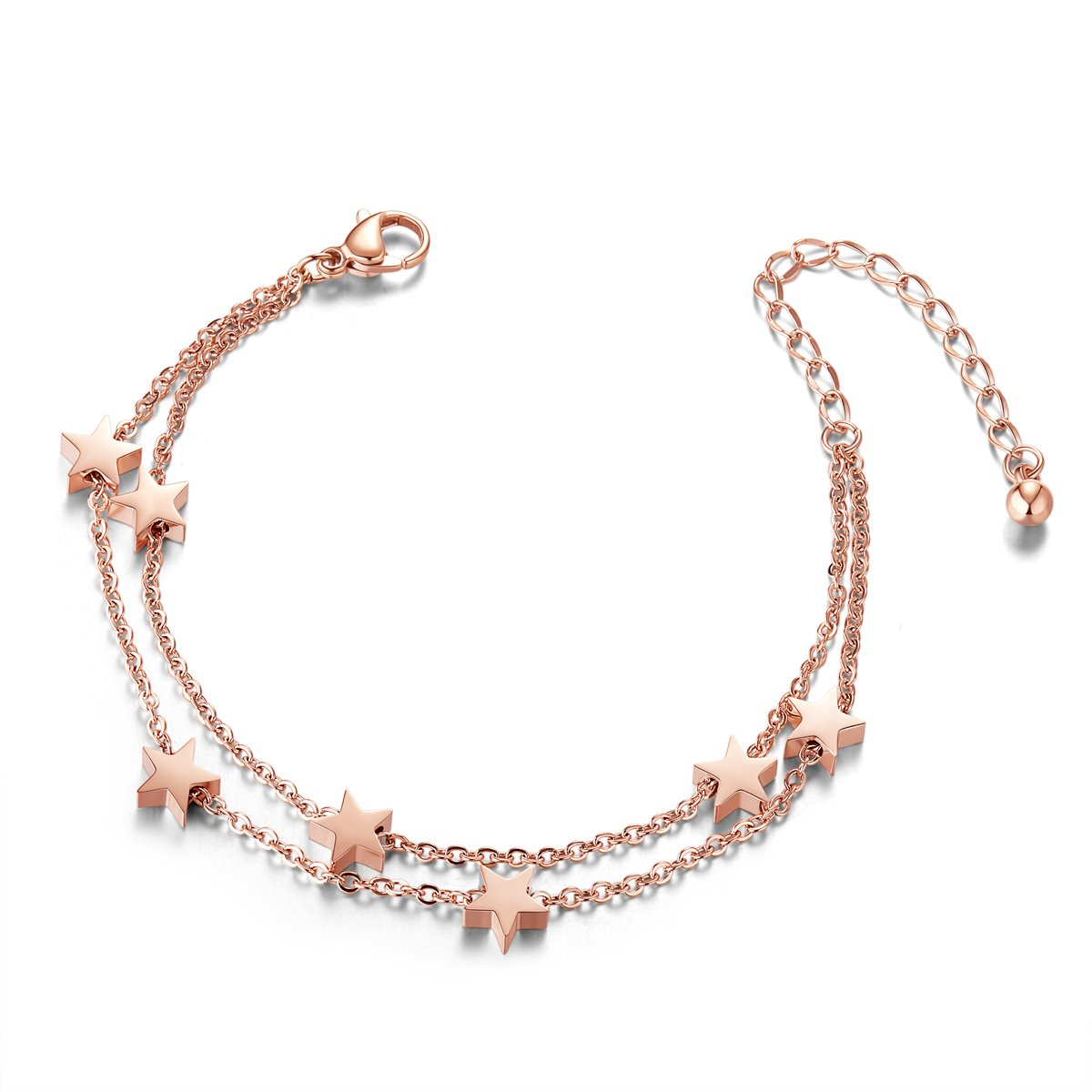 Sweetiee Titanium Steel Double Layered Anklet with Mini Stars Rose Gold 200mm for Woman JA42A
