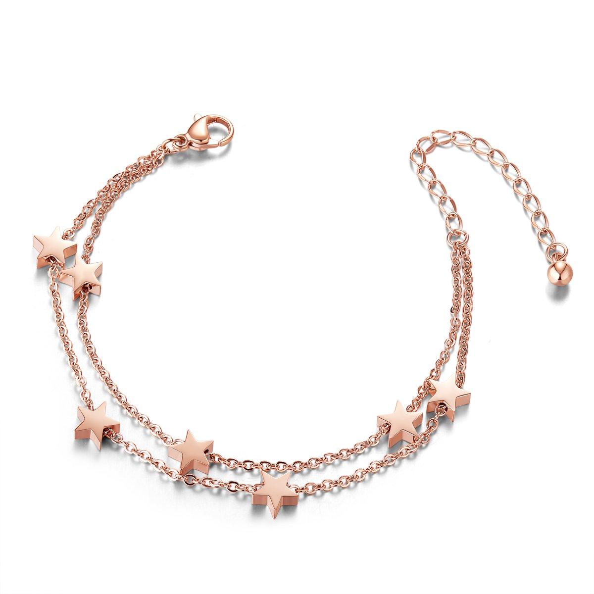 SWEETIEE - Bracelet de Cheville en Acier Titane, Doubles Chaines Orne d'Etoiles, Or Rose, 200mm Doubles Chaines Orne d'Etoiles SHEGRACE JA42A