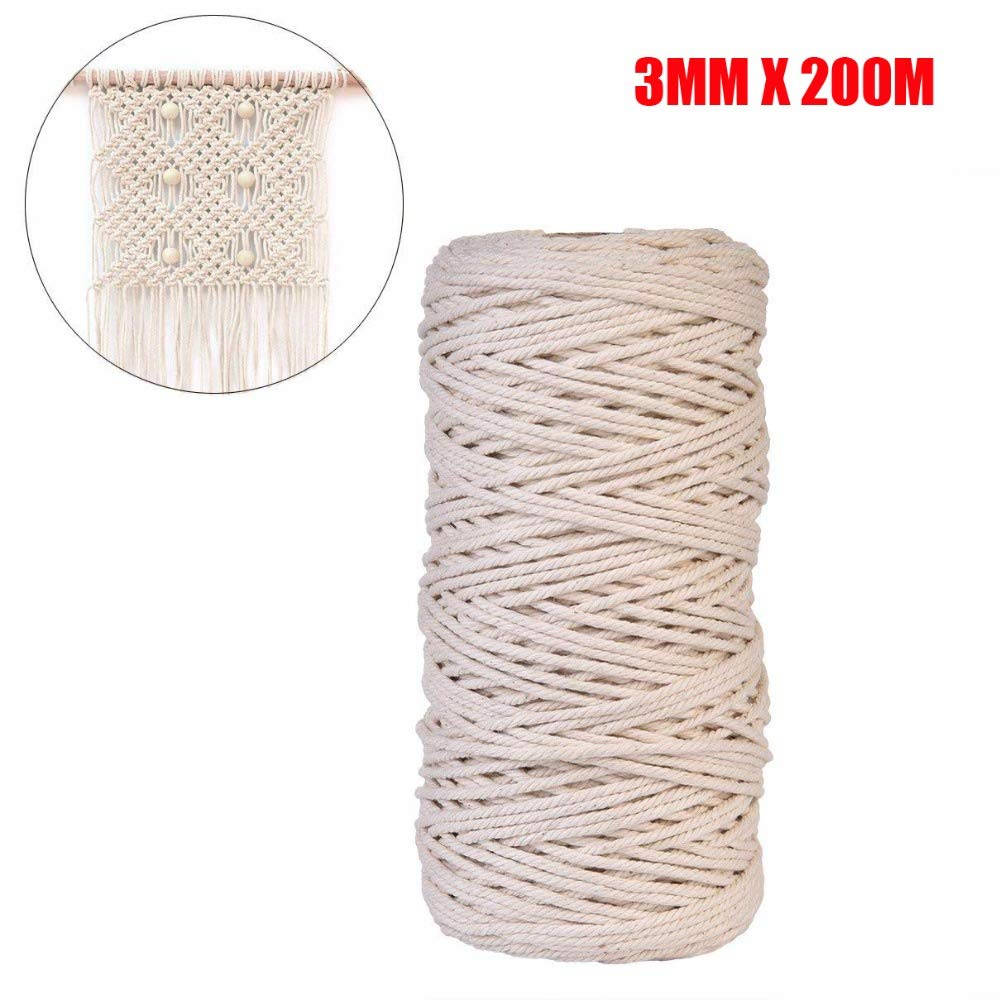 FINCOS 3mm x 200m Natural Handmade Cotton Cord Macrame Yarn Rope DIY Wall Hanging Plant Hanger Craft String Knitting