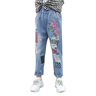 Filles Carotte Denim Troué Pantalon Panpanbox Chino Pants Jeans lJuFKc3T1