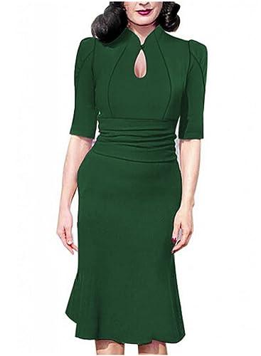 Destinas Women's Vintage Style Retro 1940s Shirtwaist Flared Tea Dress