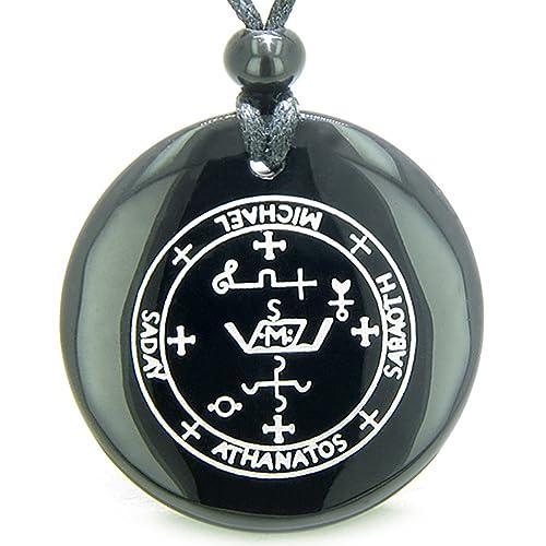 Sigil Of The Archangel Michael Amulet Black Agate Magic Pendant