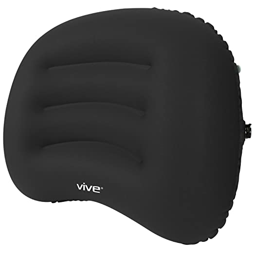Inflatable Lumbar Support Cushion by Vive - Posture Correcting Backrest Pillow for Car, Office Chair, Lower Back and Neck Pain, Sciatica - Adjustable Relief (Black)