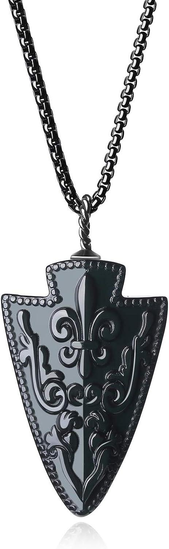 COAI Collar de Acero con Colgante Punta de Flecha con Flor de lis de Obsidiana