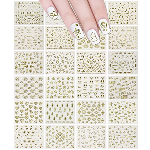 24 Sheets Gold Crowns, Gold Stars & Gold Vines Nail Stickers Set Nail Art