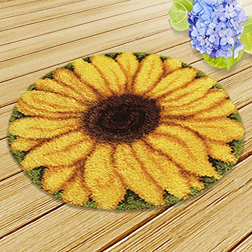 Latch Hook Kit DIY Rug Carpet Handcraft Cushion Embroidery Set Crocheting for Kids & Adults Animal/Flower Pattern (Sunflower, 20x20 inch)