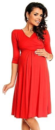 Zeta Ville Damen Umstandsmoden-Shirtkleid Umstandskleid Sommerkleid 282c  (Rot, 38) 6598f7c919