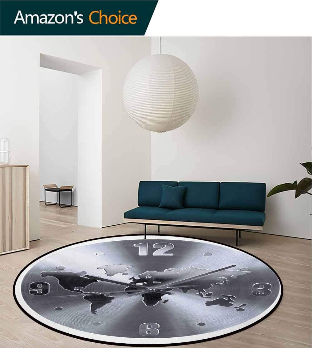 RUGSMAT Clock Machine Washable Round Bath Mat,A Silver Clock Pattern with A World Map Checking The Time Hour and Minute Hand Print Non-Slip No-Shedding Bedroom Soft Floor Mat,Round-71 Inch by RUGSMAT (Image #1)