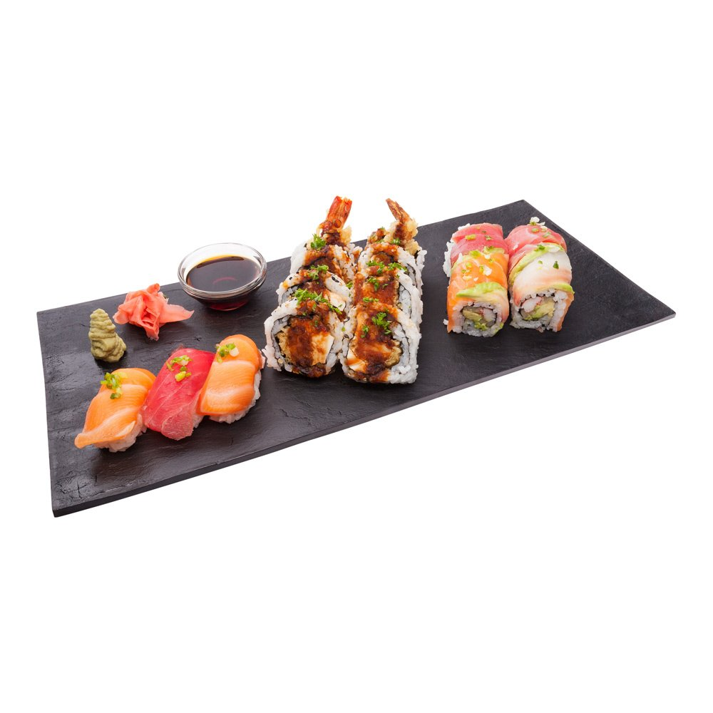Large Black Faux Slate Plate - Sushi Plate - Rectangle Plate - 16'' x 7'' - 25ct Box - Restaurantware