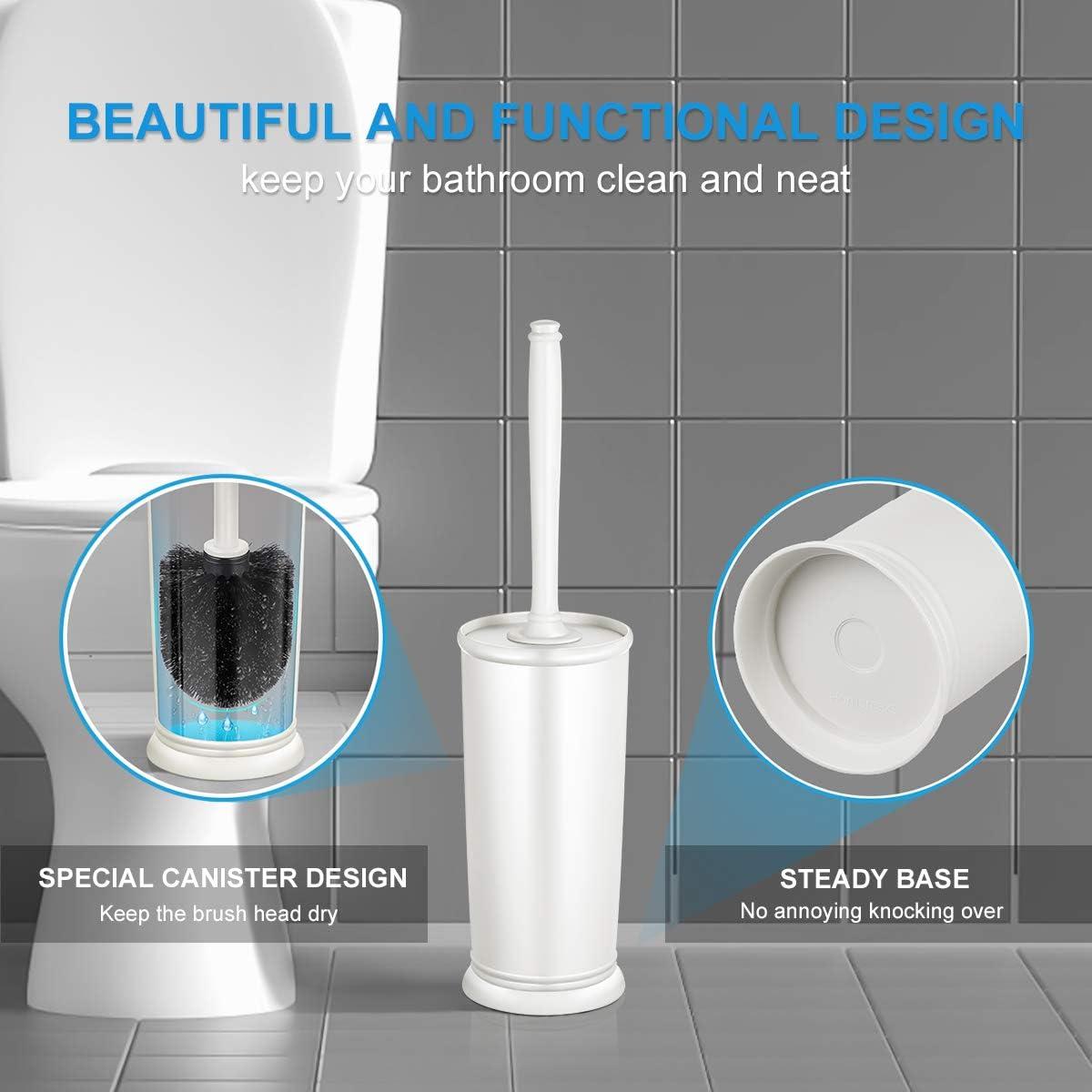 Toilet Bowl Brush and Holder for Bathroom, Deep Cleaning Toilet Bowl Brush Set 2 Pack - White