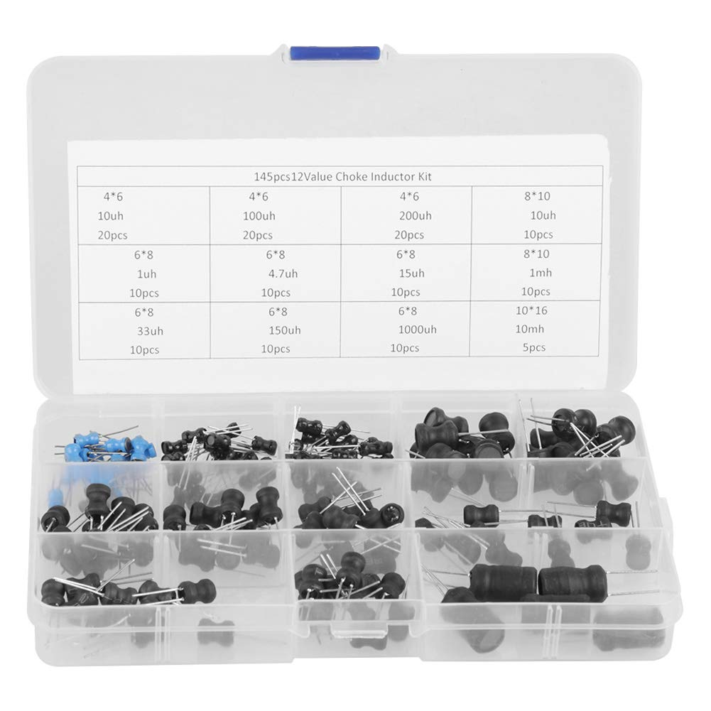 Inductor Coil - 145Pcs 10uH-10mH 12 Values Choke Inductors Assorted Kit OKBY