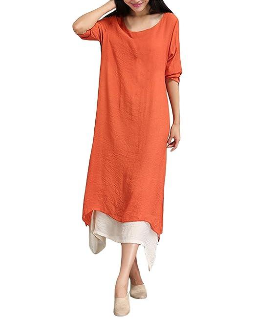 5aed7ffcd2 ZANZEA Mujer Vestido Largo Holgado Elegante Escote Redondo  Amazon.es  Ropa  y accesorios