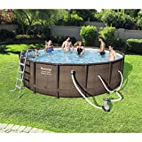 Bestway 16' x 48'' Power Steel Frame Above Ground Swimming Pool Set with Pump