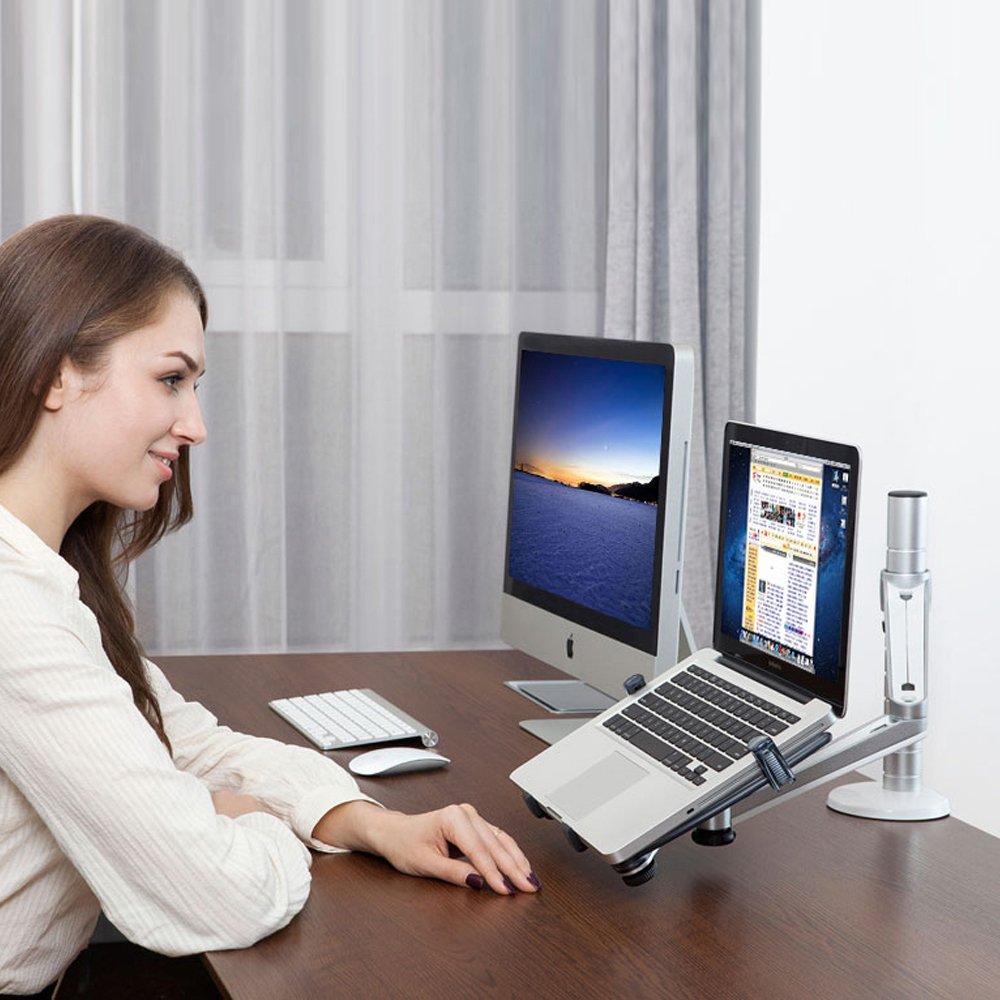 Regolabile alluminio universale laptop portatili e monitor supporto da tavolo staffa di montaggio a morsetto Tilt Swivel doppio braccio di supporto Holder Laptop /& Tablet