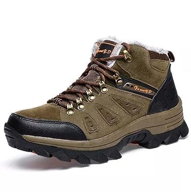 Arrampicata Scarpe da Trekking Uomo Invernali Stivali Scarponi da Neve Pelliccia Stivaletti Pelle Impermeabile Caldo Boots High Top Sneaker Calzature