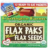 Carrington Farms Coconut Oil Carrington Farms Organic Ground Milled Flax Seed, 12-Count Easy Serve Packets (Pack of 3), Packaging May Vary