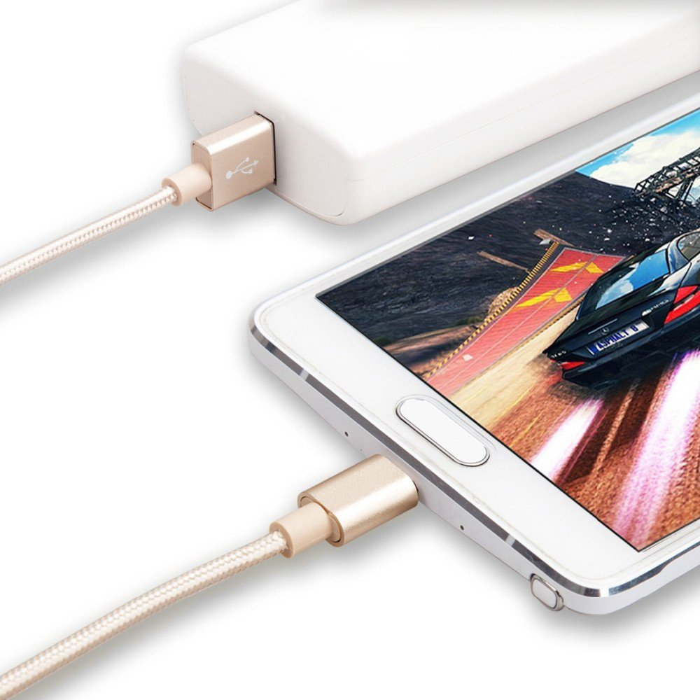 Pasway Micro USB Kabel 3Pack (1m 2m 3m) Nylon Space USB Ladekabel Universal für Samsung, HTC, Motorola, Nokia und mehr Android Smartphone & Tablets (Gold)