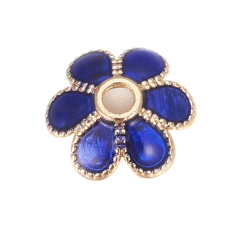 PH PandaHall 500pcs Blue 6-Petal Flower Alloy Enamel Beads Caps 6mm Golden Flower Beads for Jewelry Making, 2mm Thick, Hole: 1mm by PH PandaHall