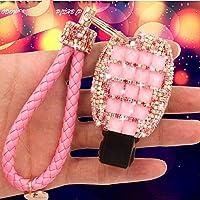YIKA Benz diamond key shell Car Key Case Cover Holder Pouch Remote Key Chains Key Bag For Mercedes-Benz C E S M CLS CLK GLK GL Class, etc(Pink)