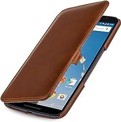 StilGut® Book Type Case con Clip - Senza Magnete -, Custodia in Vera Pelle a Libro per Google Nexus 6 e Motorola Nexus 6, Cognac