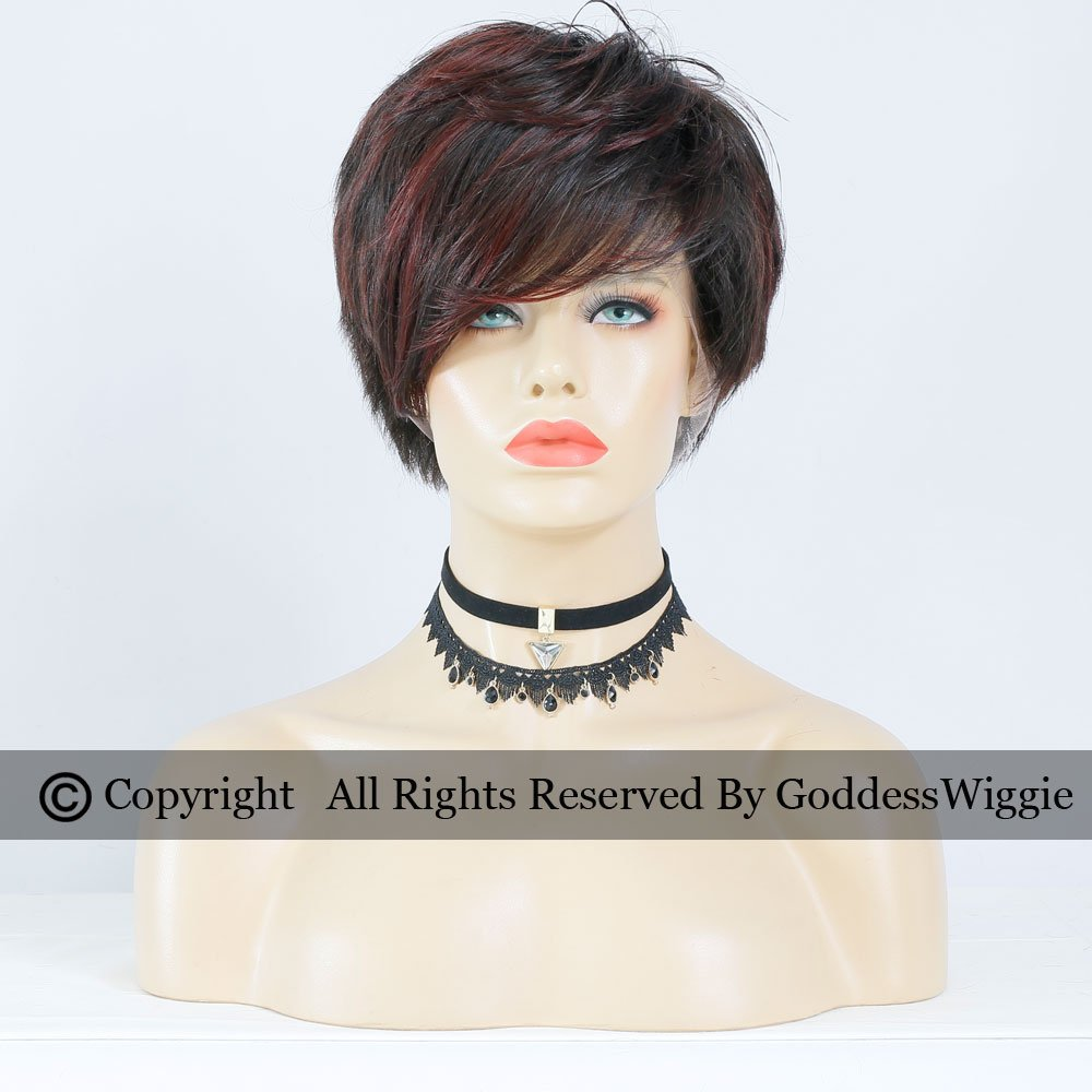 Highlights Dark Wine Short Pob Human Hair Wigs Glueless Full Lace Red Short Cut Lace Wigs (180density)