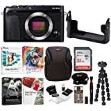 Fujifilm X-E3 Mirrorless Digital Camera (Body, Black) w/BLC Leather Case, 32GB Memory Card & Editing Software Bundle