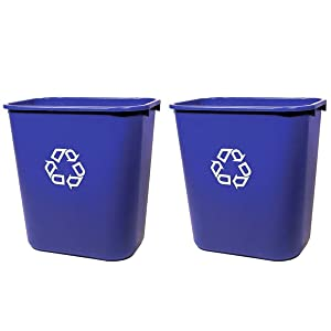 "Rubbermaid FG295673 Blue Medium Deskside Recycling Container with Universal Recycle Symbol, 28-1/8 qt Capacity, 14.4"" Length x 10.25"" Width x 15"" Height, 2 Pack"