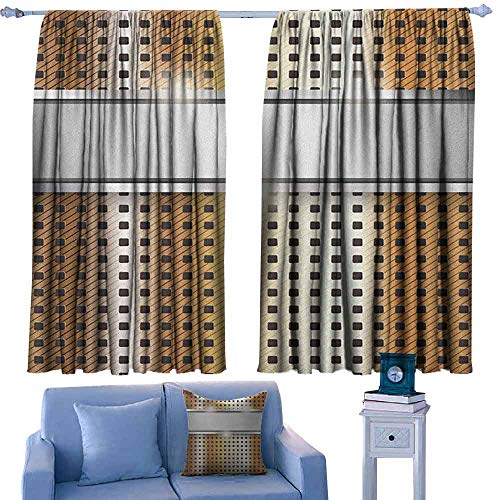 Mannwarehouse Modern Drapes for Living Room Close Up Surface Image with Grey Band Mechanical High Tech Theme Print Noise Reducing 63