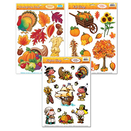 FAKKOS Design Thanksgiving Window Cling Decorations - 3 Large Sheet Sets Featuring Fall Themes - Turkeys, Pilgrims, Leaves, Pumpkins