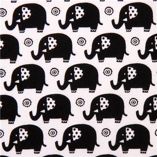 white Mini Elephants elephant animal fabric black Michael Miller Zoo Littles (per 0.5 yard multiples)