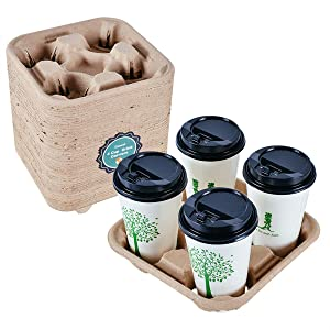 Cznest Cup Holder 4 Cup Carrier Tray Disposable [50 pack], Durable Biodegradable Drink Carriers, Stackable Coffee Cup Carrier To Go Tray for Hot or Cold Drinks - Food Delivery, Restaurant
