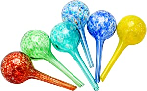 Sungmor Glass Watering Globes - 6PC Pack, Small, 6 x 15CM, 150ML Volume - Self Watering Bulbs Stake - Automatic Drippers Waterers Dripping Equipment for Indoor Outdoor Garden Potted Plants