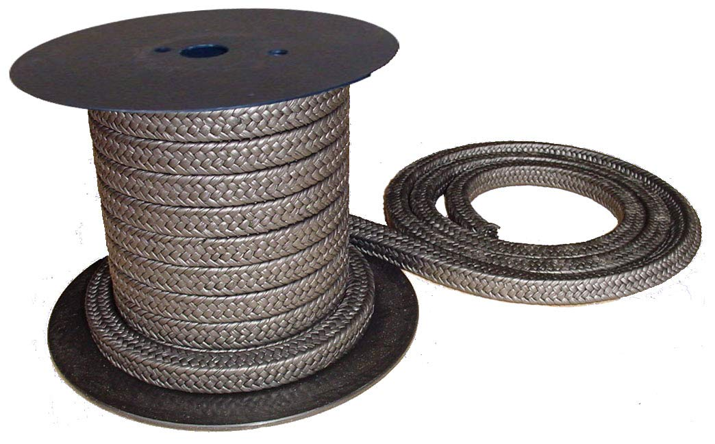 Minseal 1200 - Graphitized Expanded PTFE Graphite Braided Compression Packing for Pump Gland or Valve Stem or Mechanical Seal, 1/2'' x 1/2'', 8 Feet