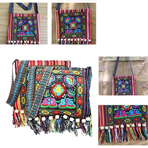 Scuro Tailandese Hmong Kofun Rosso Della Delle Borsa Boho Completa La Blu Messaggero Del Di Tracolla Hippie Collina Borsa Ricamo Nappa Cina Nappe Rwr1zROq