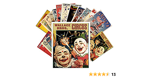 Vintage Circus Clowns /& Athletes Posters CC-1011 Postcard Set 24 cards