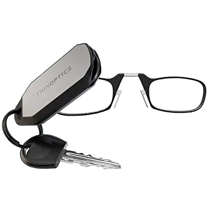 ThinOptics Gafas de Lectura + Funda Tipo Llavero Plateada | Marcos Negros, Grosor de 2,00