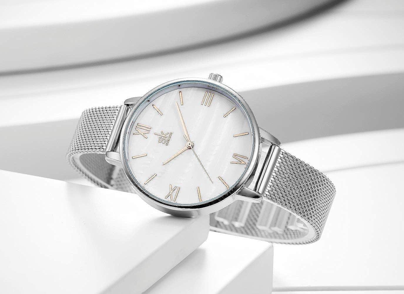 Amazon.com: SHENGKE Creative Simplicity Women Watch Mesh Band Elegant Women Watches Ladies Business Wristwatch (K0039-silver-mesh Band): Watches