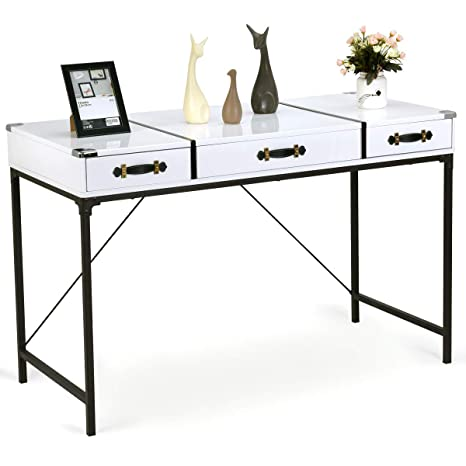 various colors 6c2af a3dbf Tangkula Computer Desk, Home Office Desk, Modern Console Table with  3-Drawer Living Room Essentials Accent Table Board with Metal Frame (White)