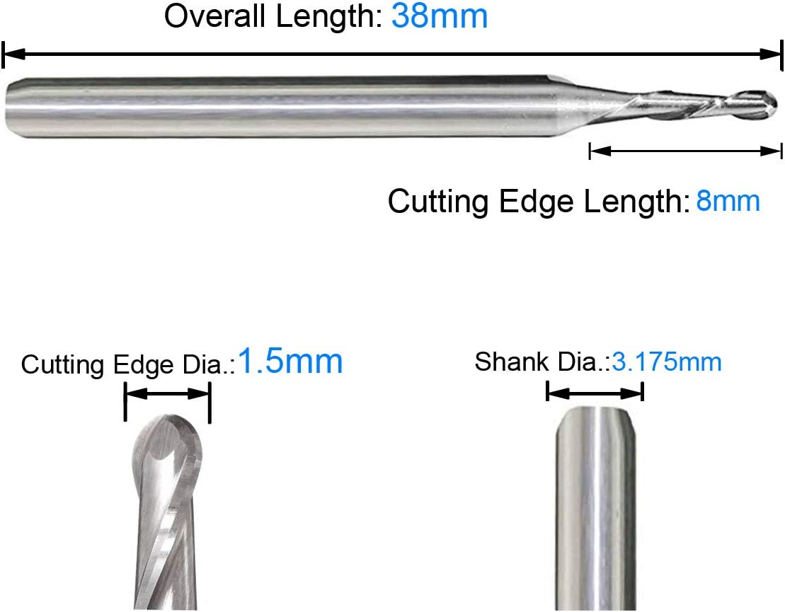 Carbide Milling Bits TranRay 1//8 Shank Dia Double Flutes Spiral Carbide Ball Nose End Mill CNC Router Bit 1.5mm Cutting Dia.