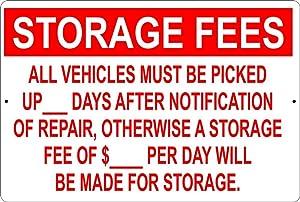 Yilooom Custom Personalize Storage Fees Shop Mechanic Aluminum Metal Sign