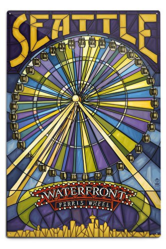Seattle, Washington - Waterfront Ferris Wheel (12x18 Aluminum Wall Sign, Wall Decor Ready to Hang)