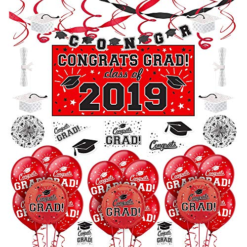 Party City Red Congrats Grad 2019 Graduation Deluxe Decorating Supplies with  Banner, Streamers, and Swirls