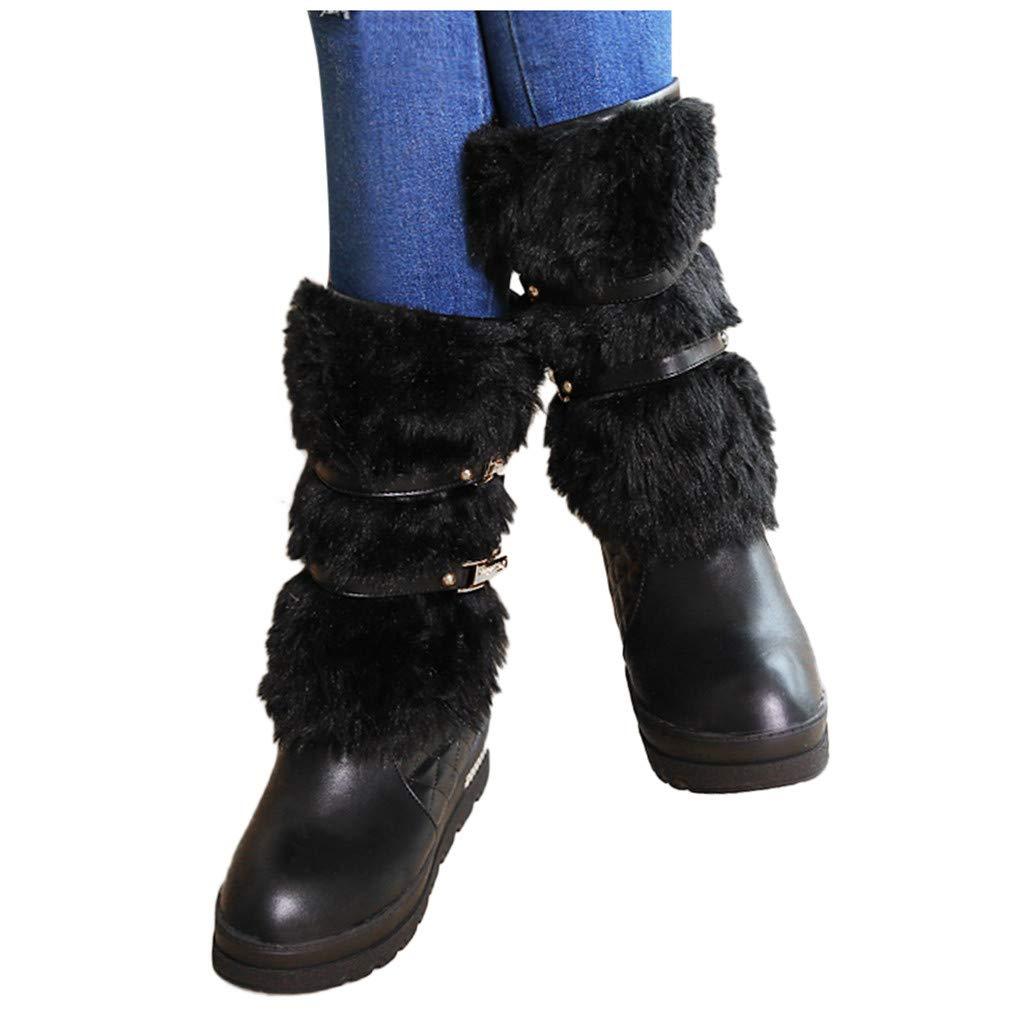 Dainzuy Women's Faux Fur Crisscross Flat Mid Calf Boots Buckle Warm Winter Snow Fashion Trendy Booties by Dainzuy Women's Shoes