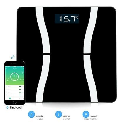 EpochAir Báscula de Baño Bluetooth, Báscula Inteligente con Pantalla LCD para iOS Android Dispositivos,