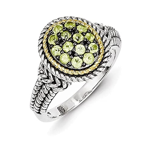 STERLING SILVER /& 14KT GENUINE DIAMOND /& PERIDOT RING