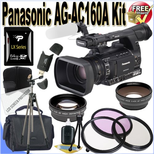 Panasonic AG-AC160A AVCCAM HD Handheld Camcorder 64GB Package (International Model)