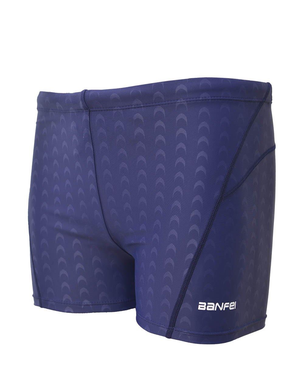 Srnfean Men`s Square Leg Quick Dry Short Swim Suit Blue(Dark Blue Line) X-Large